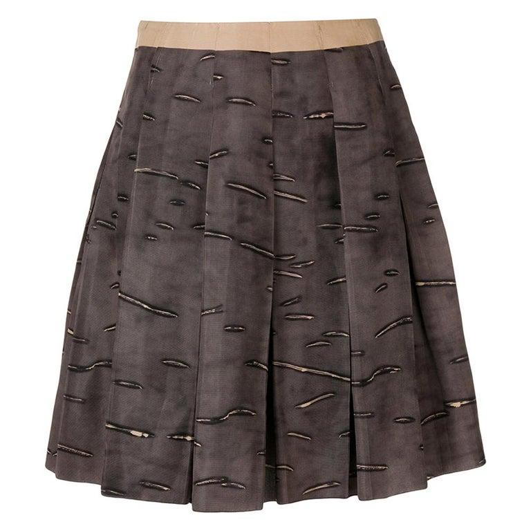2000s Prada Pleated Brown Skirt For Sale