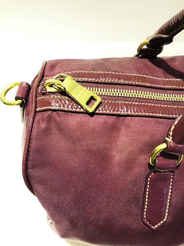 Black 2000s Prada purple tessuto nylon double handle bag For Sale