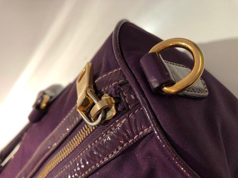 2000s Prada purple tessuto nylon double handle bag In Good Condition For Sale In London, GB