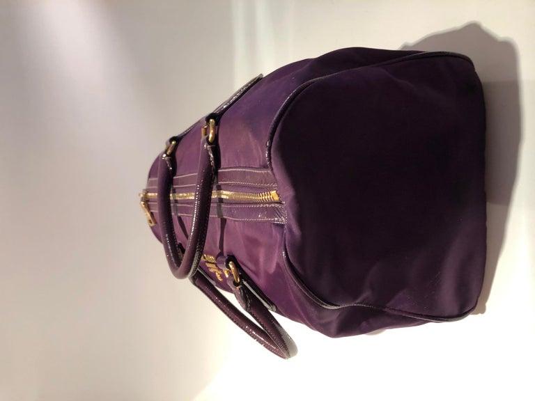 2000s Prada purple tessuto nylon double handle bag For Sale 1