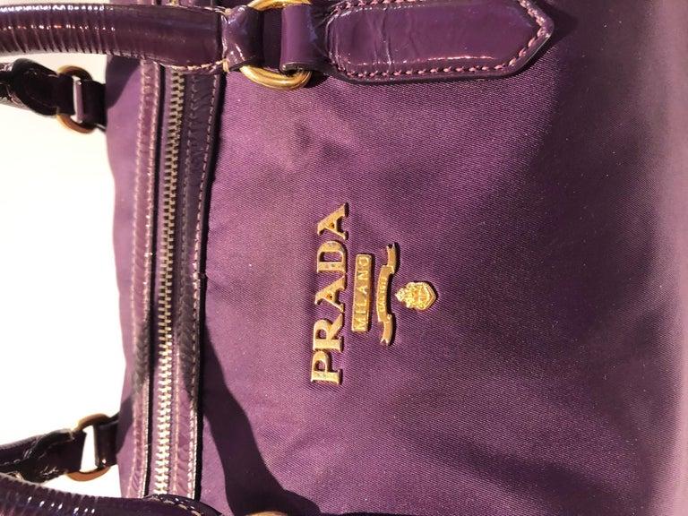 2000s Prada purple tessuto nylon double handle bag For Sale 2