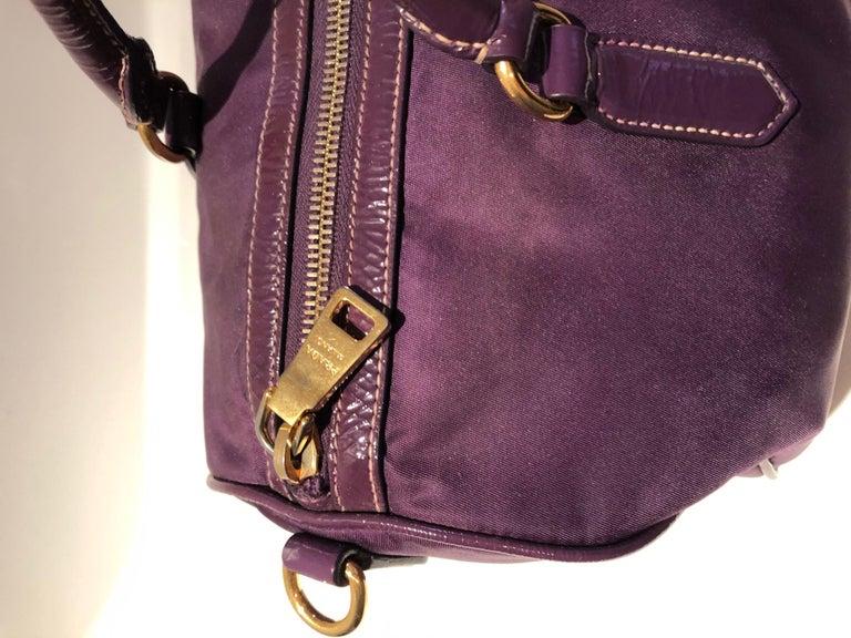 2000s Prada purple tessuto nylon double handle bag For Sale 3