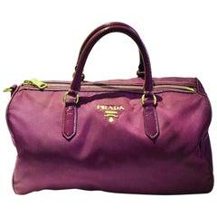 2000s Prada purple tessuto nylon double handle bag
