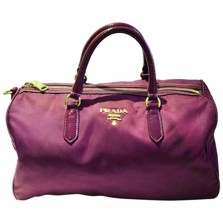 2000s Prada purple tessuto nylon double handle bag For Sale