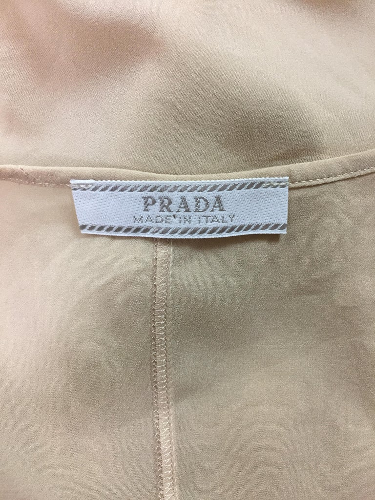 2000's Prada Sheer Nude Silk Long Slip Dress In Good Condition For Sale In Yukon, OK