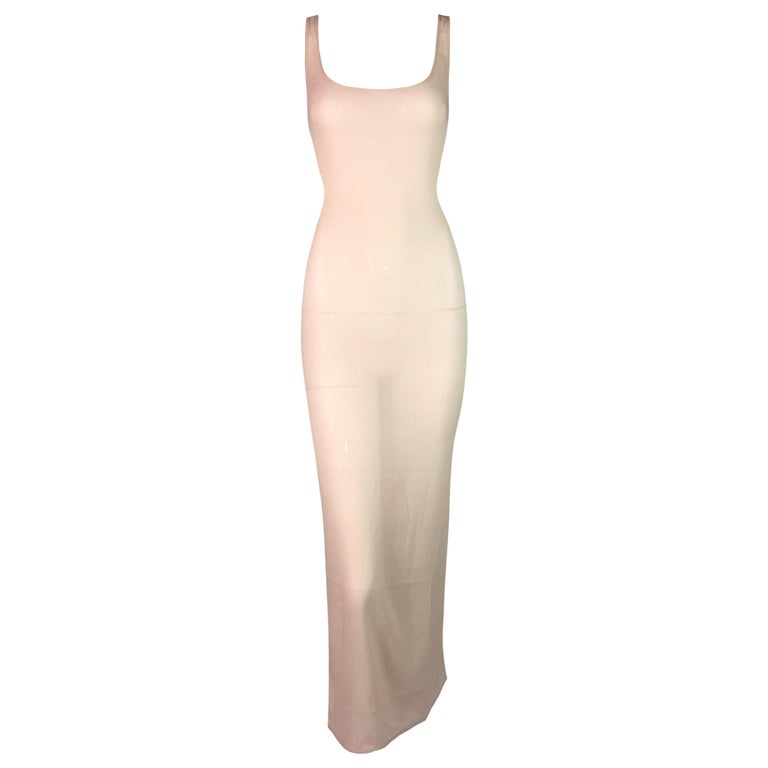 2000's Prada Sheer Nude Silk Long Slip Dress For Sale