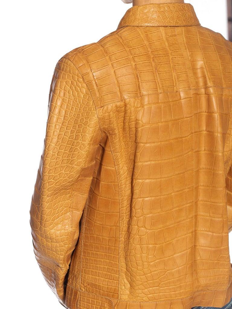 2000S PRADA Tan Alligator Leather Straight Jean Jacket Cut For Sale 6