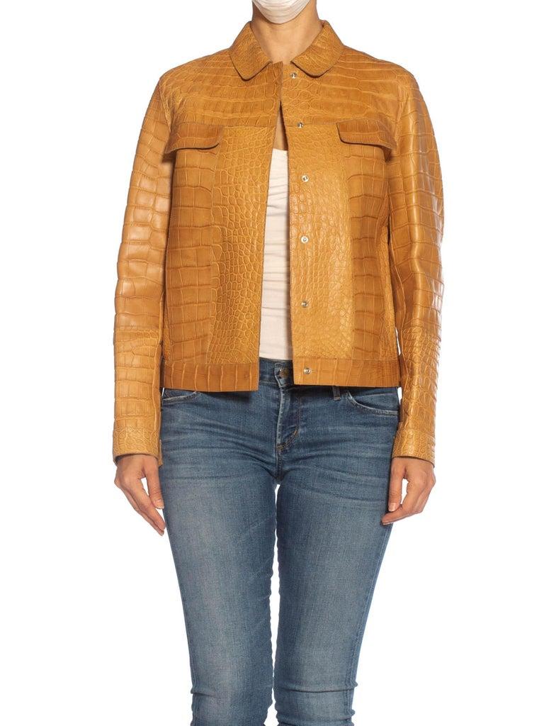 Orange 2000S PRADA Tan Alligator Leather Straight Jean Jacket Cut For Sale