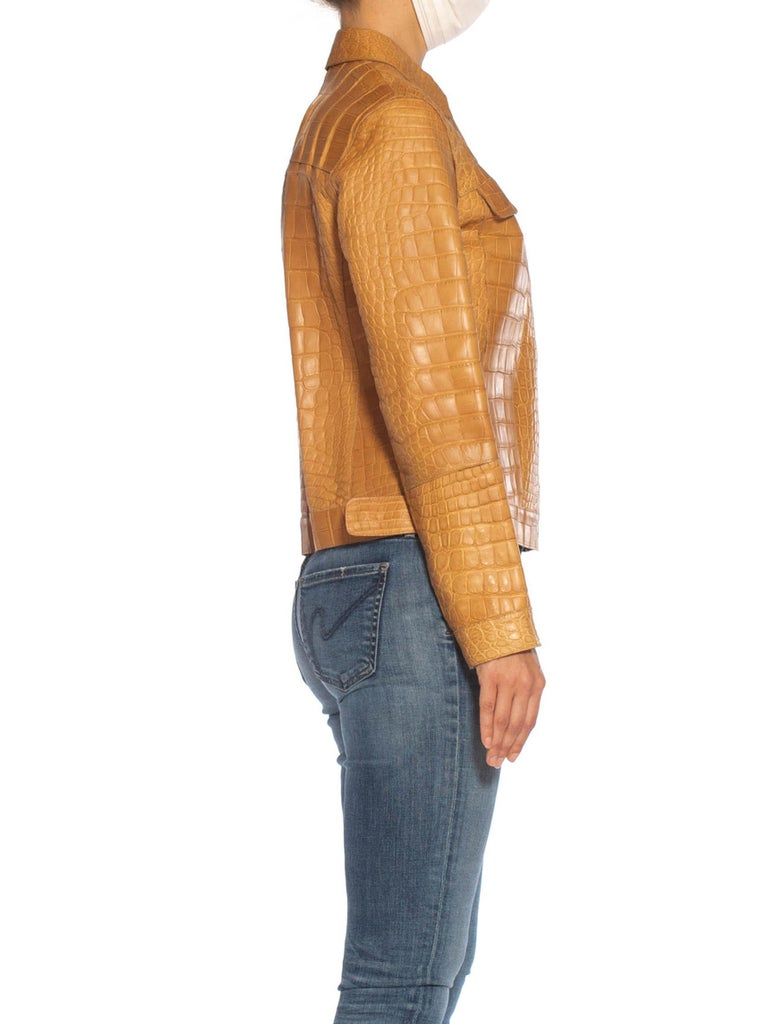 2000S PRADA Tan Alligator Leather Straight Jean Jacket Cut In Excellent Condition For Sale In New York, NY
