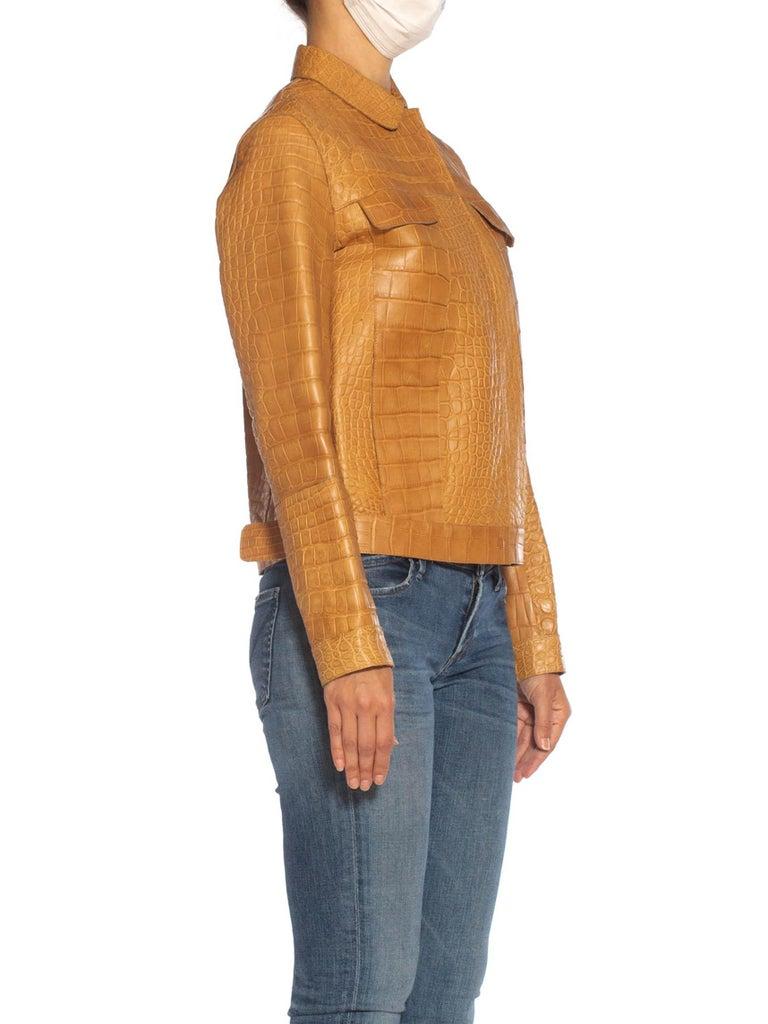 Women's 2000S PRADA Tan Alligator Leather Straight Jean Jacket Cut For Sale