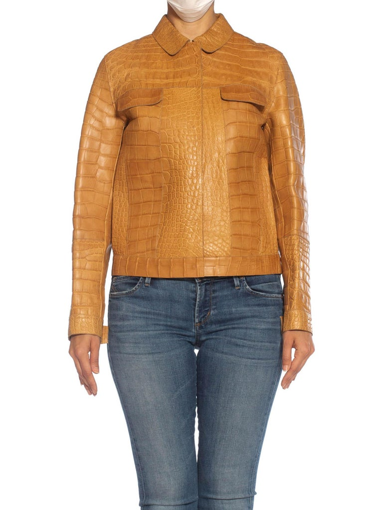 2000S PRADA Tan Alligator Leather Straight Jean Jacket Cut For Sale 2