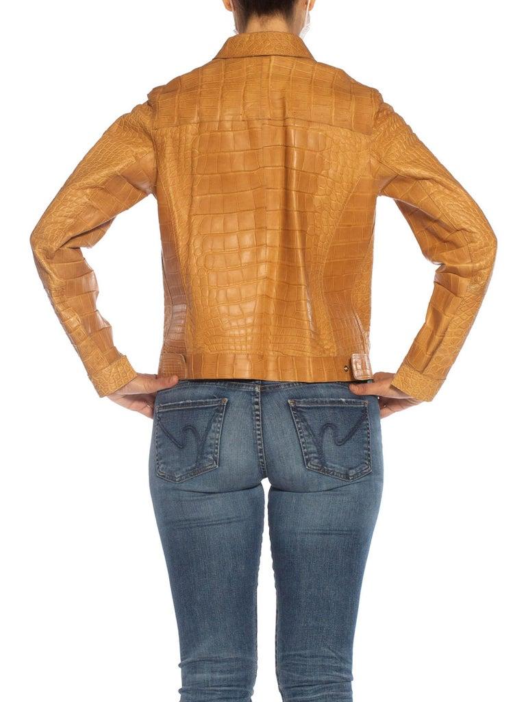 2000S PRADA Tan Alligator Leather Straight Jean Jacket Cut For Sale 3