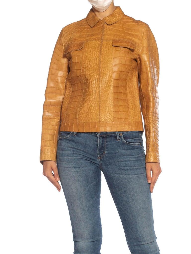2000S PRADA Tan Alligator Leather Straight Jean Jacket Cut For Sale 4