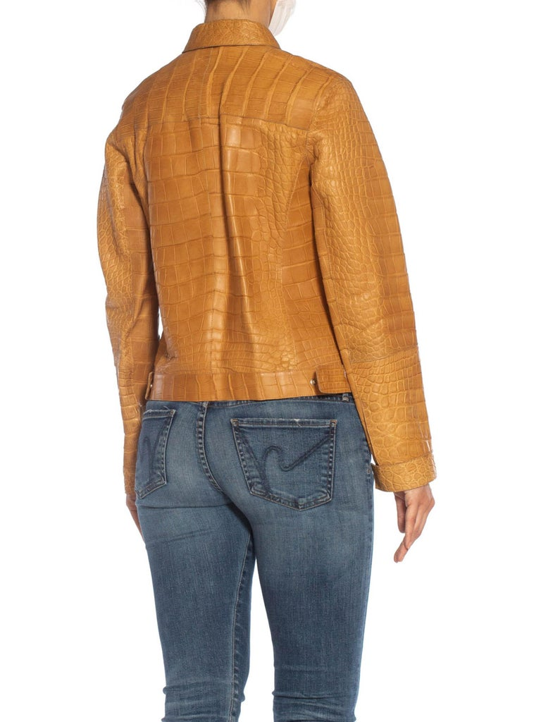 2000S PRADA Tan Alligator Leather Straight Jean Jacket Cut For Sale 5