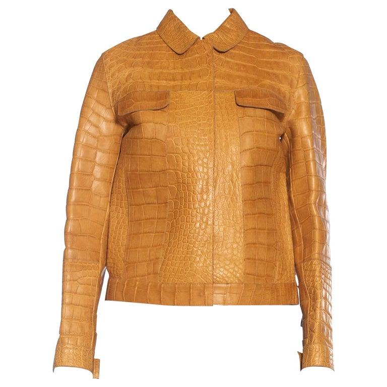 2000S PRADA Tan Alligator Leather Straight Jean Jacket Cut For Sale