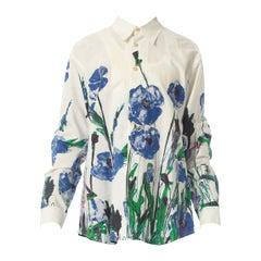 2000S Prada White Cotton Shirt With Oversized Floral Print