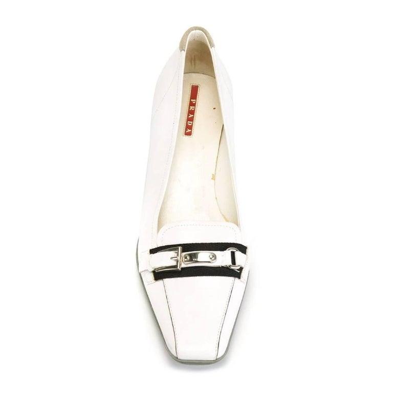 Women's 2000s Prada White Kitten Heels For Sale