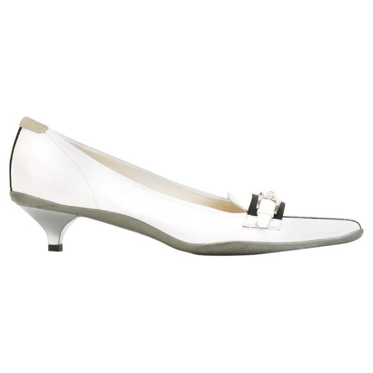 2000s Prada White Kitten Heels For Sale