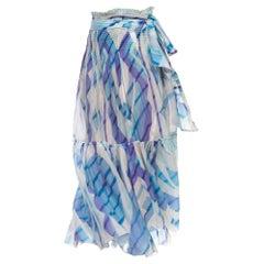 2000S PUCCI Silk & Cotton Lawn Blue White Printed Skirt