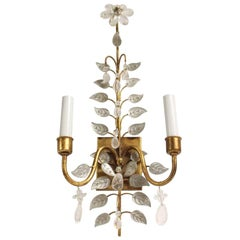 2000s Qty Baguès Style Gold Leaf Wrought Iron and Crystal Wall Sconce