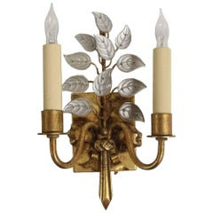 2000s Baguès Style Gold Leaf Wrought Iron and Crystal Sconce