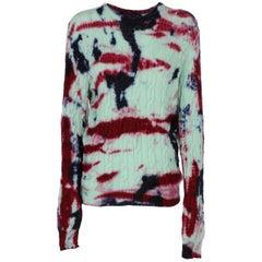 2000s Ralph Lauren braided tie and dye sweater