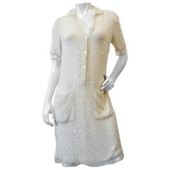 Ralph Rucci 2000s White Beaded Polo Dress