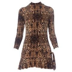 2000S ROBERTO CAVALLI Animal Print Rayon Blend Jersey Slinky Mini Dress With Sl