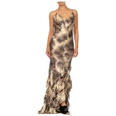 2000S ROBERTO CAVALLI Bias Cut Silk Charmeuse Feather Print Gown With Slashed S