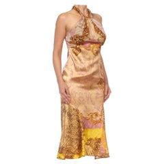 2000S ROBERTO CAVALLI Brown & Gold Animal Print Silk Dress
