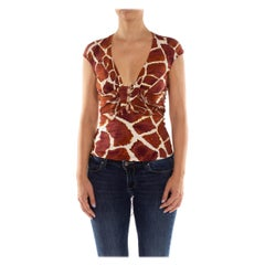 2000S ROBERTO CAVALLI Brown & White Giraffe Print Jersey Deep V Neck Top