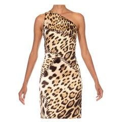 2000S ROBERTO CAVALLI Leopard Print Jersey One Shoulder Cocktail Dress