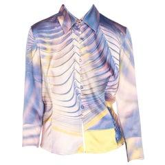 2000S ROBERTO CAVALLI Lilac & Yellow Silk Lycra Charmeuse Satin Blouse