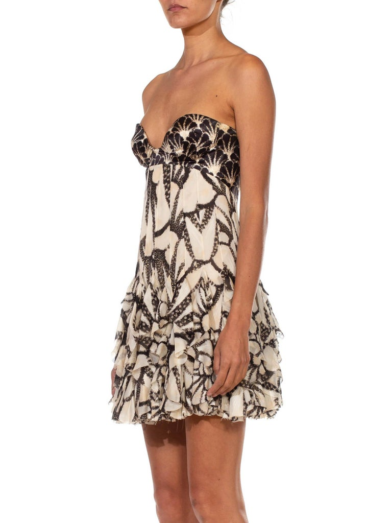Brown 2000S ROBERTO CAVALLI Silk Chiffon Ruffled Strapless Corseted Bodysuit Cocktail For Sale