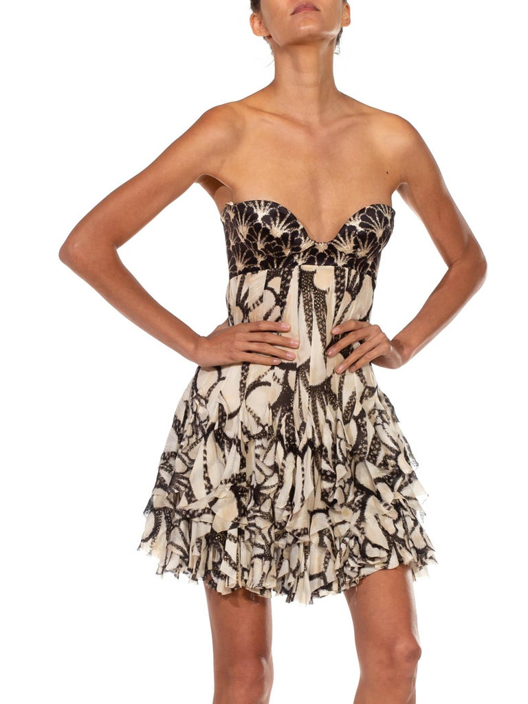 2000S ROBERTO CAVALLI Silk Chiffon Ruffled Strapless Corseted Bodysuit Cocktail In Excellent Condition For Sale In New York, NY