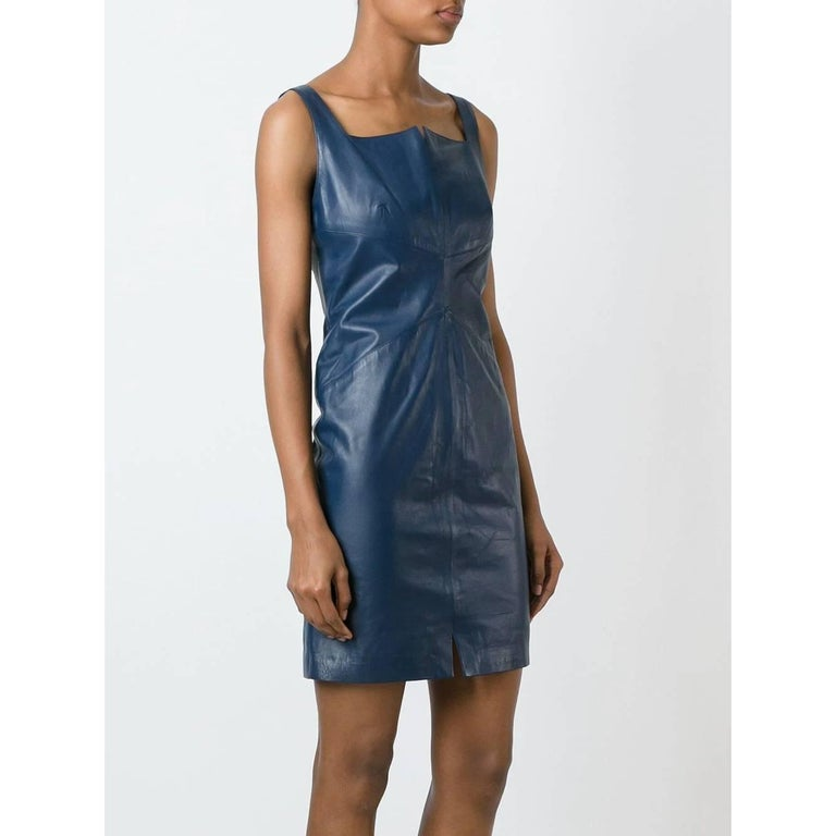 2000s Romeo Gigli Blue Leather Dress In Excellent Condition For Sale In Lugo (RA), IT
