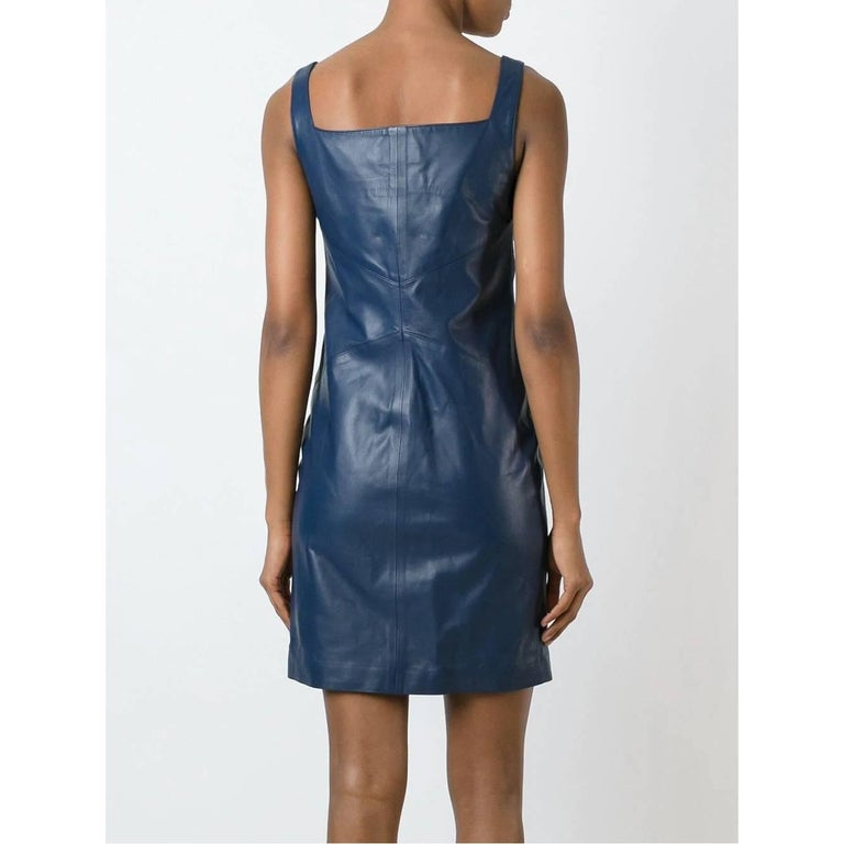 Women's 2000s Romeo Gigli Blue Leather Dress For Sale