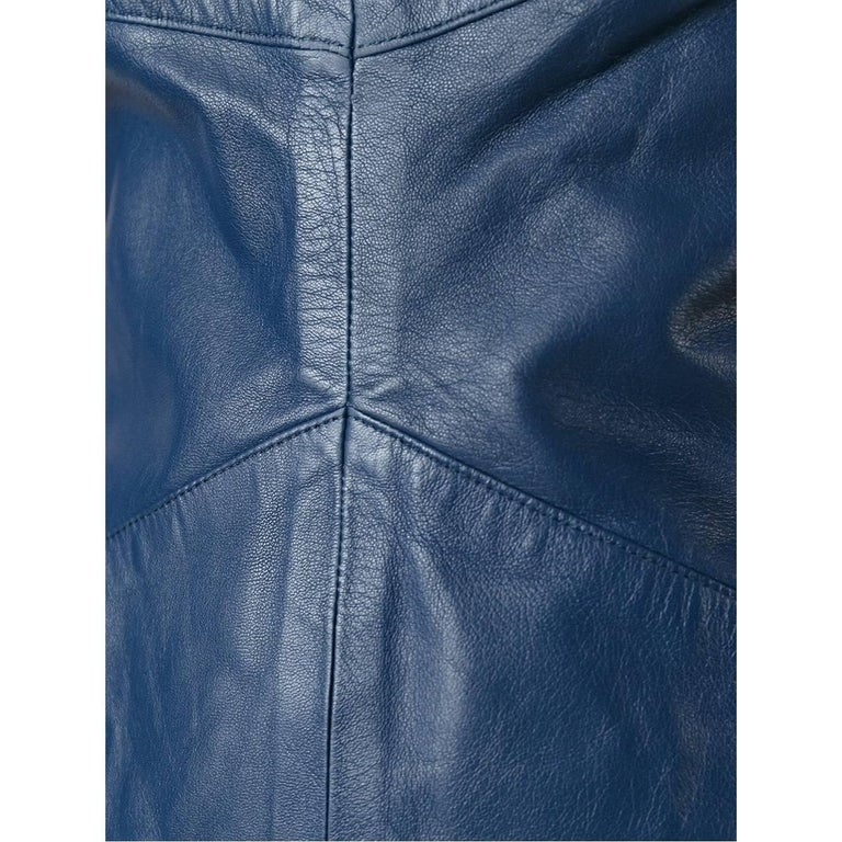 2000s Romeo Gigli Blue Leather Dress For Sale 1