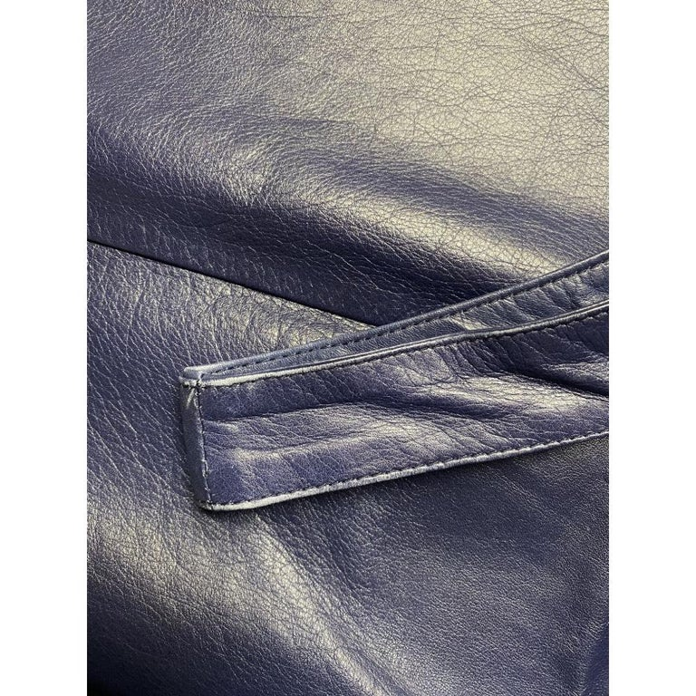 2000s Romeo Gigli Blue Leather Dress For Sale 2