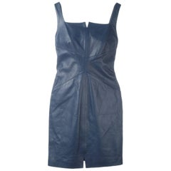 2000s Romeo Gigli Blue Leather Dress