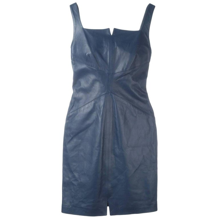2000s Romeo Gigli Blue Leather Dress For Sale