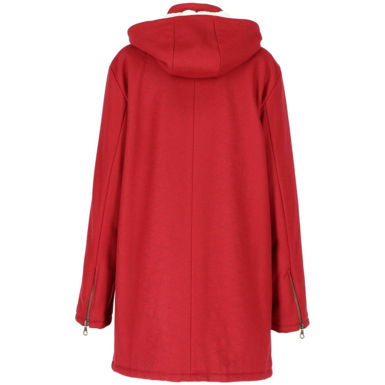 2000s Romeo Gigli Burgundy Vintage Hooded Coat In Excellent Condition For Sale In Lugo (RA), IT