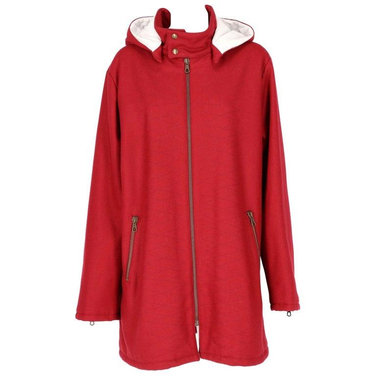 2000s Romeo Gigli Burgundy Vintage Hooded Coat For Sale