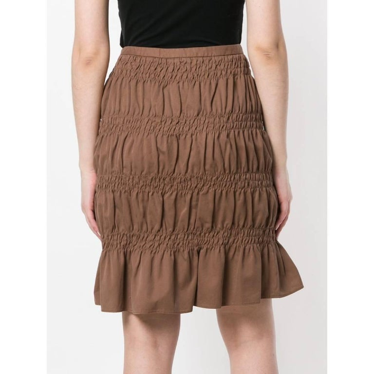 Brown 2000s Romeo Gigli Curled Skirt For Sale
