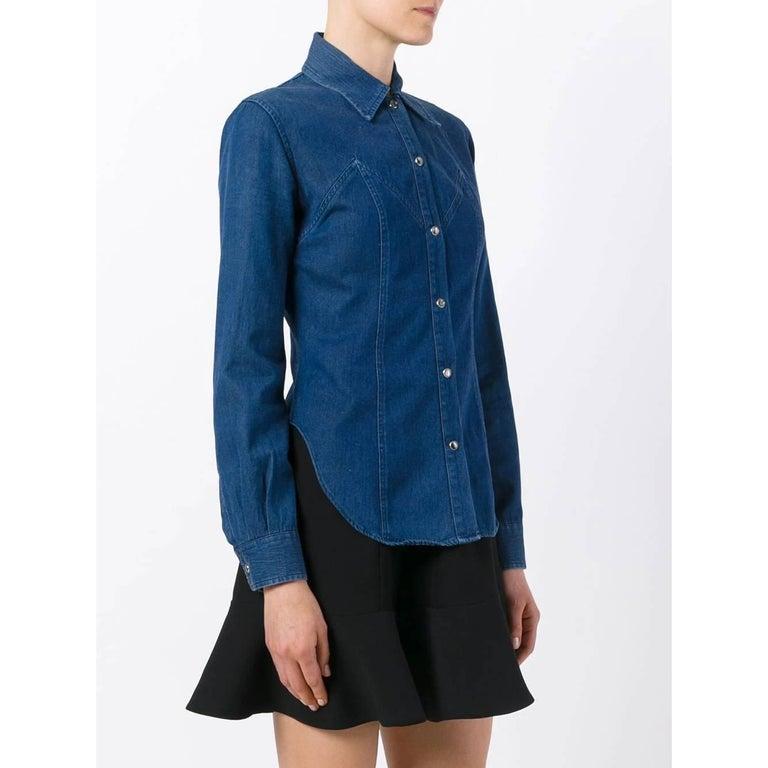 Blue 2000s Romeo Gigli Denim Shirt For Sale