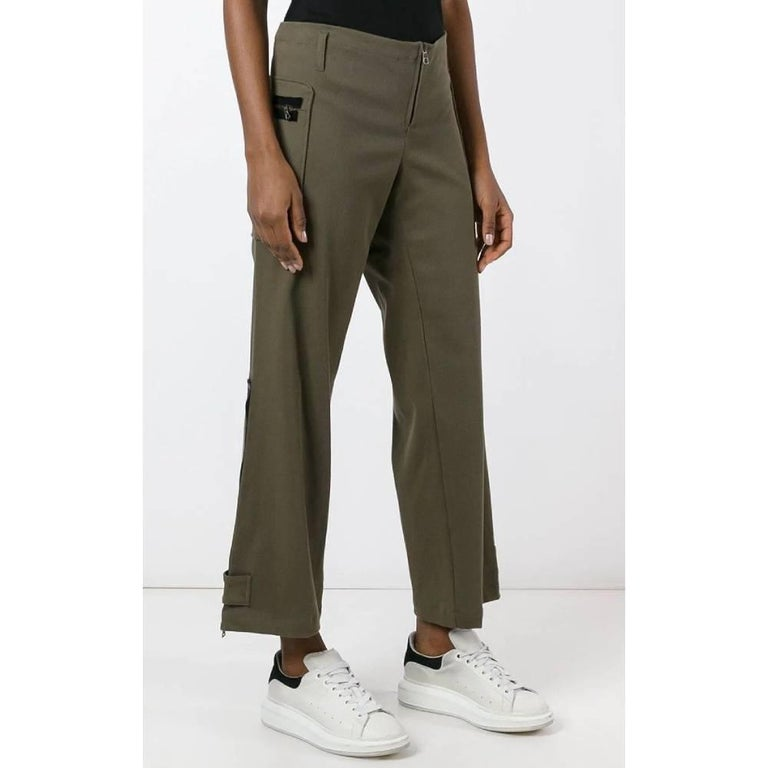 Black 2000s Romeo Gigli Green Twill Trousers For Sale