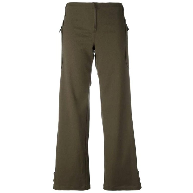 2000s Romeo Gigli Green Twill Trousers For Sale