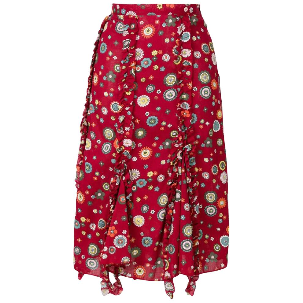 2000s Romeo Gigli Printed Burgundy Skirt