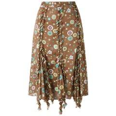 2000s Romeo Gigli Printed Trapeze Skirt