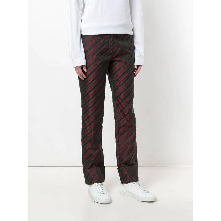 Black 2000s Romeo Gigli Striped Trousers For Sale